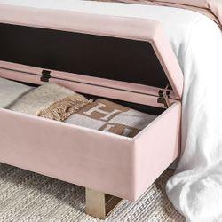 Carrie Storage Bench Ottoman - Blush Velvet