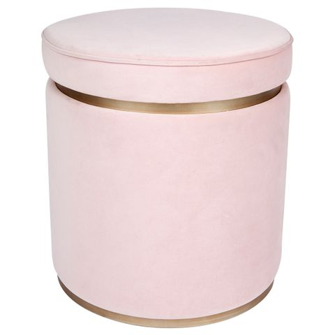 Totti Storage Stool - Blush Velvet