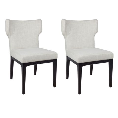 Ashton Black Dining Chair - Natural Linen