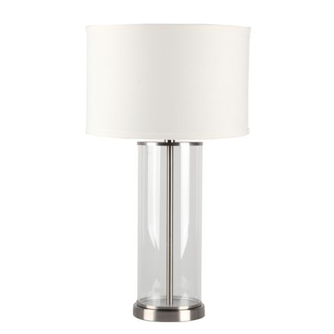 Left Bank Table Lamp - Nickel w White Shade