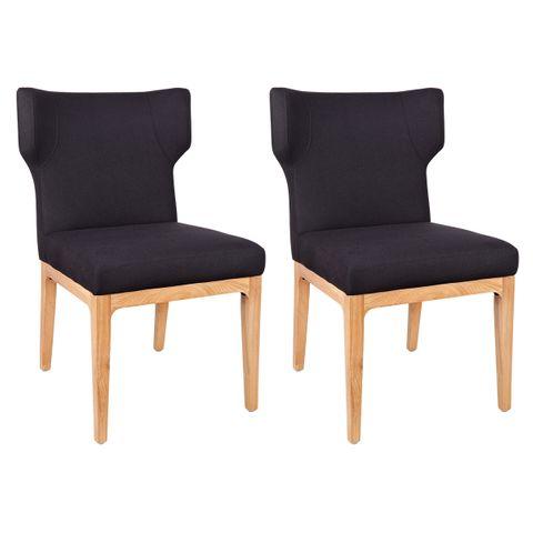 Ashton Natural Dining Chair - Black Linen