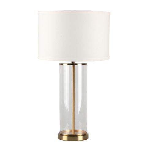 Left Bank Table Lamp - Brass w White Shade