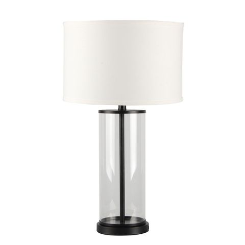 Left Bank Table Lamp - Black w White Shade
