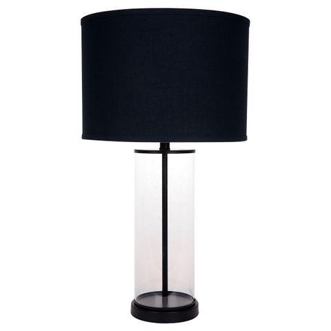 Left Bank Table Lamp - Black w Black Shade
