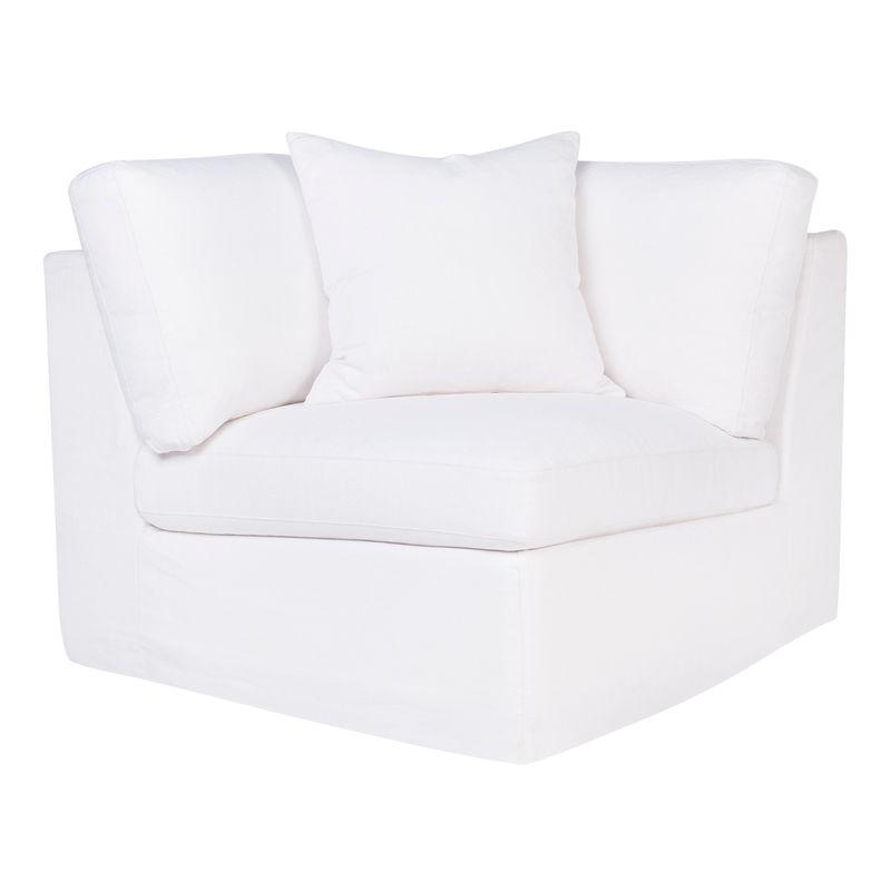 Birkshire Slip Cover Corner Seat Chair - White Linen