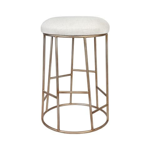 Aiden Kitchen Stool - Natural w Gold Frame