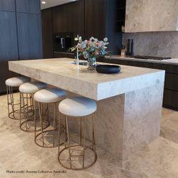Aiden Gold Steel Kitchen Stool - Natural Linen