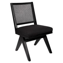 The Imperial Rattan Black Dining Chair - Black Linen