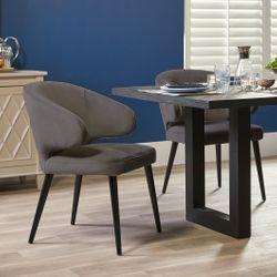 Harlow Black Dining Chair - Grey Velvet