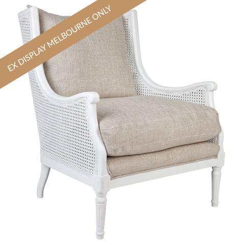 Havana Rattan Occasional Chair - White Frame w Natural Linen