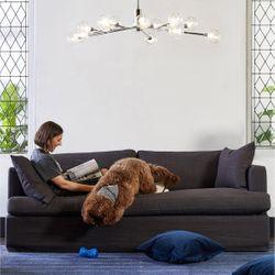 Birkshire 3 Seater Slip Cover Sofa - Charcoal Linen
