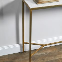 Chloe Stone Console Table - Small Antique Gold