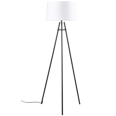 Delphi Floor Lamp Black w White Shade