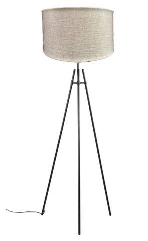 Delphi Floor Lamp Black w Natural Shade