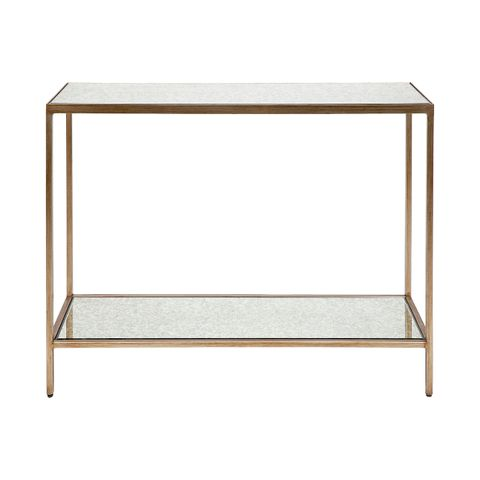 Cocktail Mirrored Console Table - Small Antique Gold