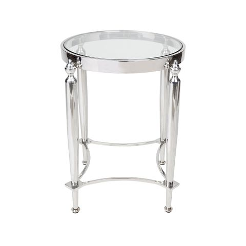 Jak Glass Side Table - Nickel