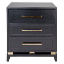 Pearl Bedside Table - Large Black