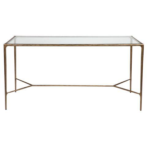 Heston Glass Desk - Brass