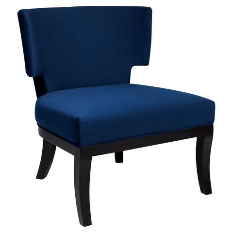 Odette Winged Occasional Chair - Navy Velvet
