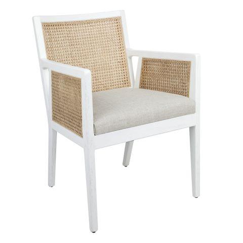 Kane Rattan White Carver Dining Chair - White Linen