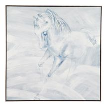 White Stallion Left Hand Facing Oil On Canvas Painting