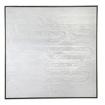 Clean Lines Oil On Canvas Painting - White