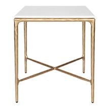 Heston Square Marble Side Table - Brass