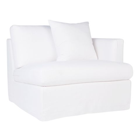 Birkshire Slip Cover Right Arm Facing Seat  - White Linen