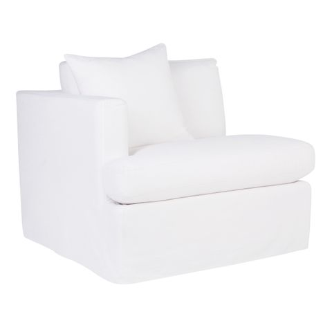 Birkshire Slip Cover Left Arm Facing Seat  - White Linen