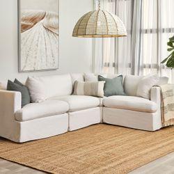 Birkshire Slip Cover Modular Sofa - White Linen Option 1