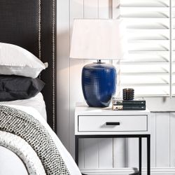 Belize Table Lamp - Navy w White Shade