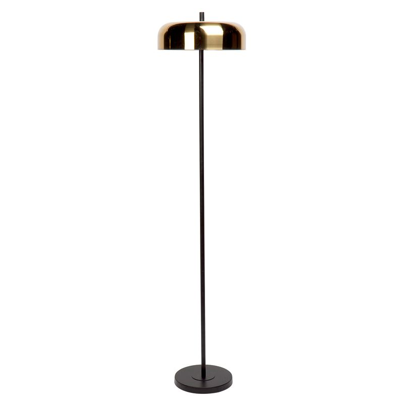 Sachs Floor Lamp - Black w Brushed Brass Shade