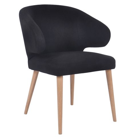 Harlow Natural Dining Chair - Black Linen
