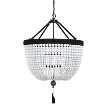 Malabar Beaded Pendant - Large White/Black