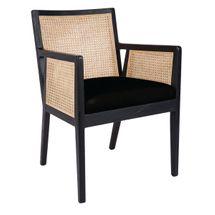 Kane Black Rattan Carver Chair - Black Linen
