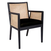 Kane Rattan Black Carver Dining Chair - Black Linen