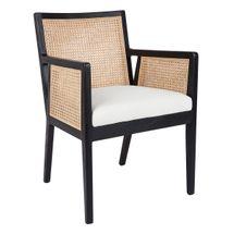 Kane Rattan Black Carver Dining Chair - White Linen