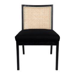 Kane Rattan Black Dining Chair - Black Linen