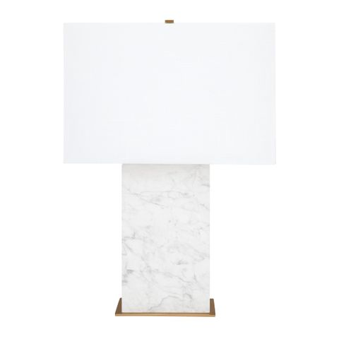 Dominique Marble Table Lamp - White w White Shade