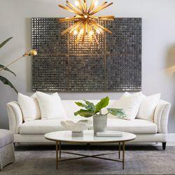Heston Round Marble Coffee Table - Brass