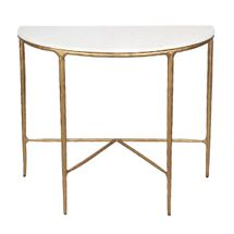 Heston Marble Demilune Table - Brass