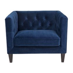 Tuxedo Tufted Occasional Arm Chair - Navy Velvet