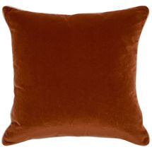 Sass Square Feather Cushion - Caramel Velvet w Natural Linen