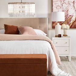 Sass Square Feather Cushion - Caramel Velvet w Natural Linen