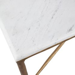 Heston Rectangle Marble Coffee Table - Brass