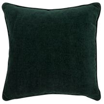 Serene Square Feather Cushion - Forest Green Chenille