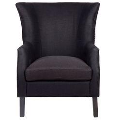 Kristian Wing Back Arm Chair - Black Linen