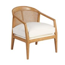 Willow Natural Rattan Arm Chair - White Linen