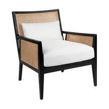 Kane Black Rattan Arm Chair - White Linen