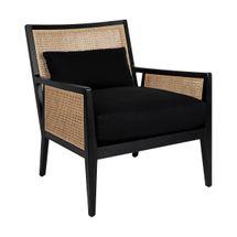 Kane Black Rattan Arm Chair - Black Linen